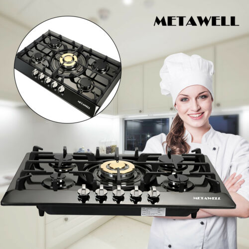 """TOP 30"""" Stainless Steel 5 Burners Built-In Stove Cooktop Gas"""