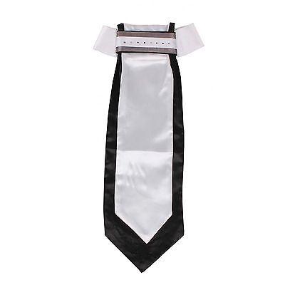 QHP Damen Plastron Coco weiß/schwarz feste Schleife Strass-Steine 2 Farben - Coco Stein