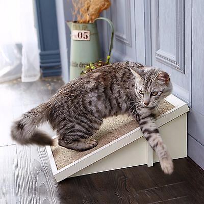 Eco Friendly Cat Scratcher Incline, Scratching Pad with Organic Catnip, White Incline Cat Scratcher