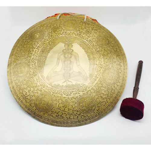20 inches Diameter Healing yogi carved gong-Tibetan temple gong-Mantra carved