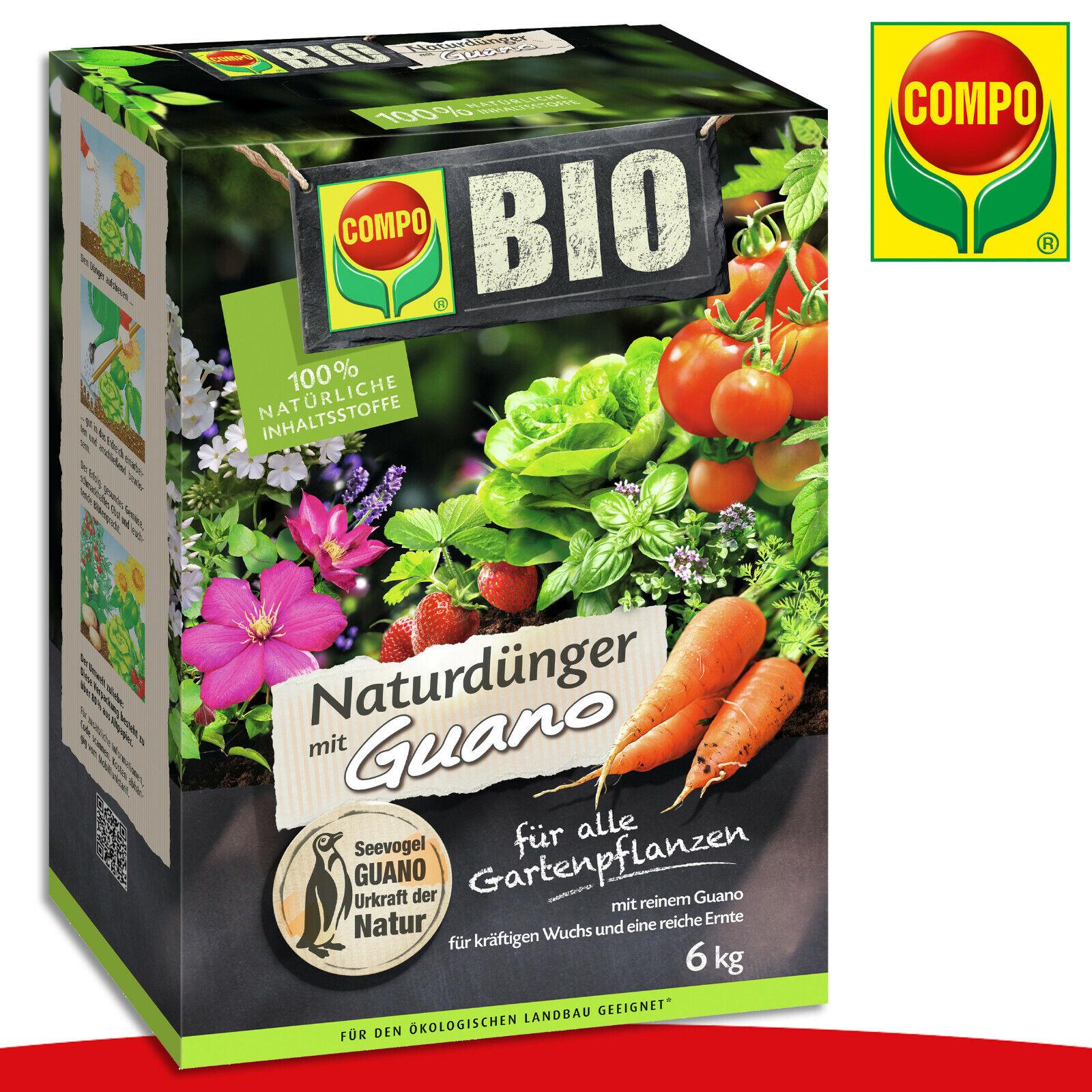 COMPO 6 kg BIO NaturDünger mit Guano | Für alle Gartenpflanzen Universal Blumen