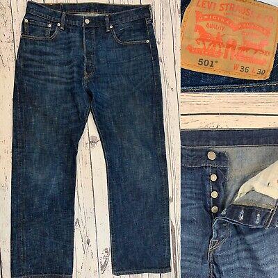 Levis 501 Mens Jeans Straight Leg Button Fly Indigo Denim Cotton Size 36X30