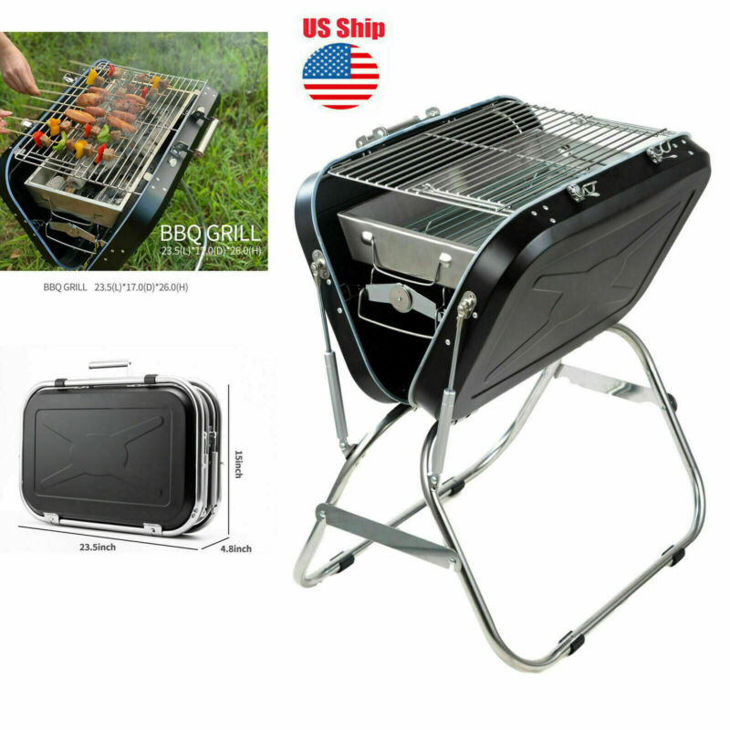 Charcoal Grill Outdoor Portable Household Stainless Steel BBQ Oven Fold Suitcase