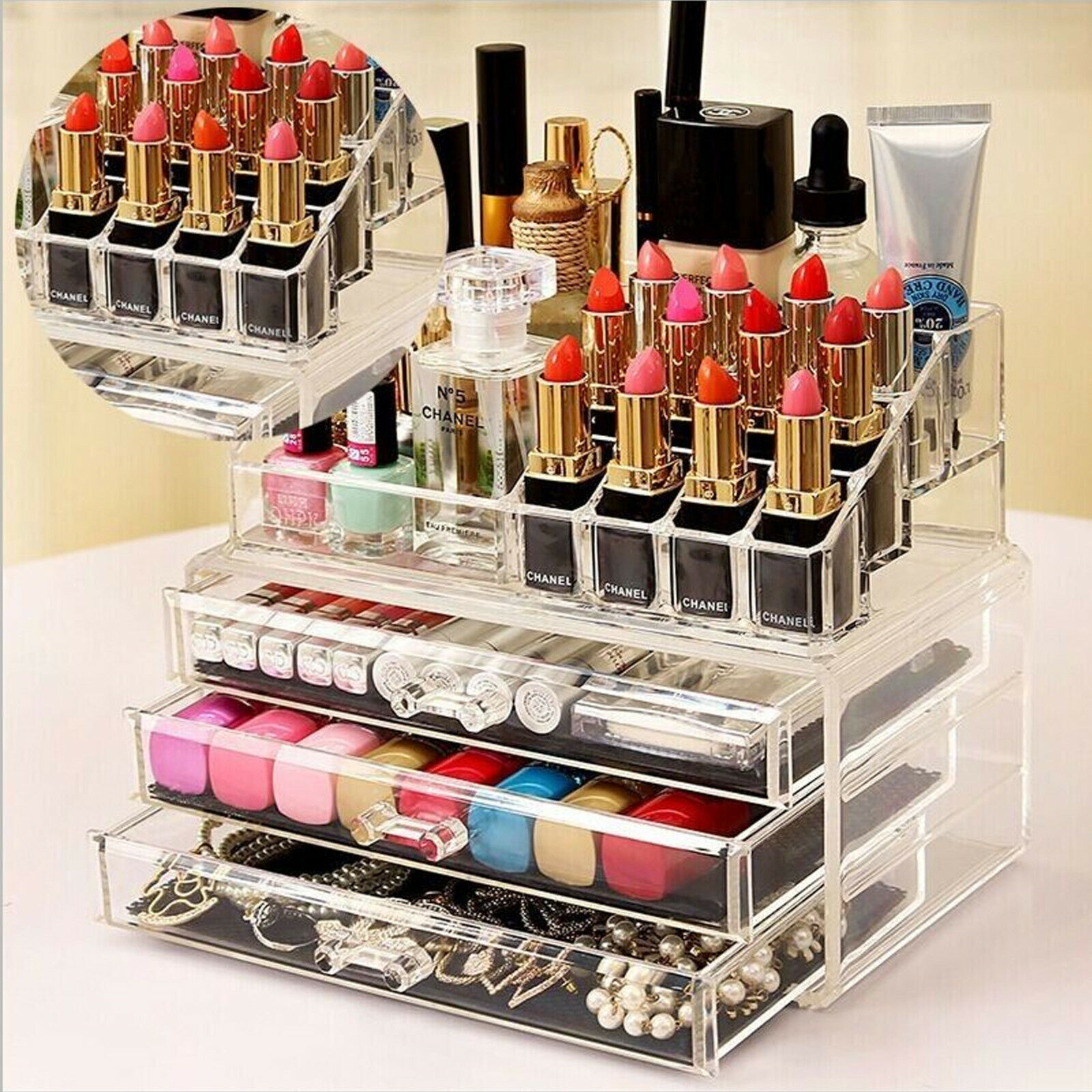 Jewellery - COSMETIC ORGANIZER ACRYLIC MAKEUP DRAWER HOLDER JEWELLERY CASE BOX STORAGE CLEAR
