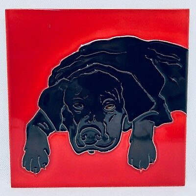 Tile Craft Decorative Tile - BLACK LAB (RED) - TC-T-1806D Black Lab Tile