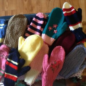 Hand knit mittens for the family