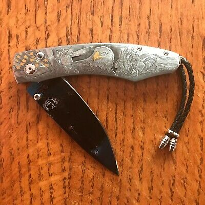 WILLIAM HENRY KNIFE B12 AMERICAN PRIDE HAND ENGRAVED 24K GOLD RETAIL $13,375