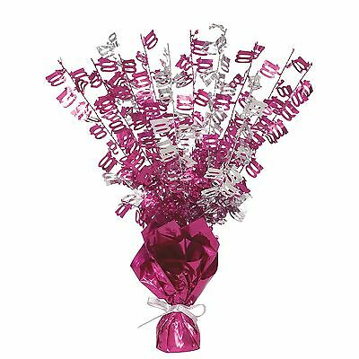 """16"""" Happy 100th Birthday Pink Sparkle Foil Weight Table Centerpiece Decoration"""