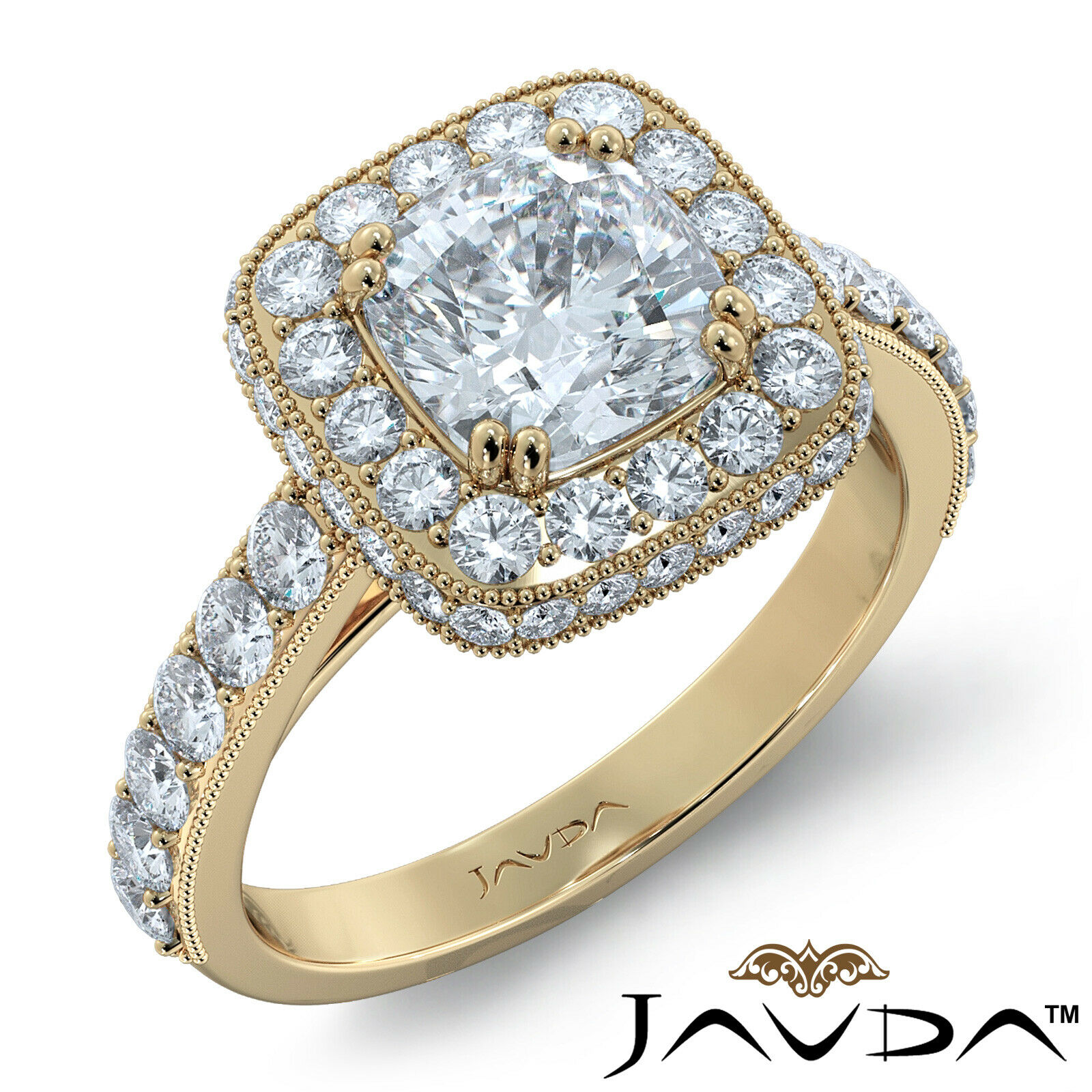 1.94ctw Milgrain Floral Basket Cushion Diamond Engagement Ring GIA E-VVS1 W Gold 7