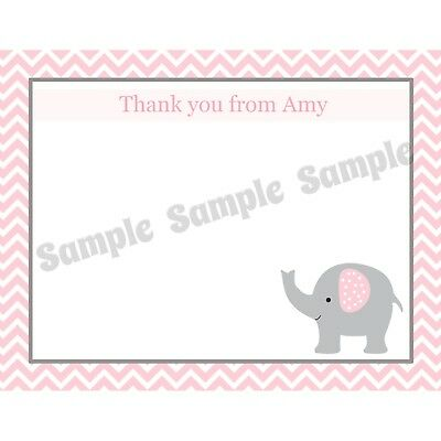 Personalized Baby Shower Thank You Cards (20 Personalized Thank You Cards  - Pink Elephant Baby Shower Thank)