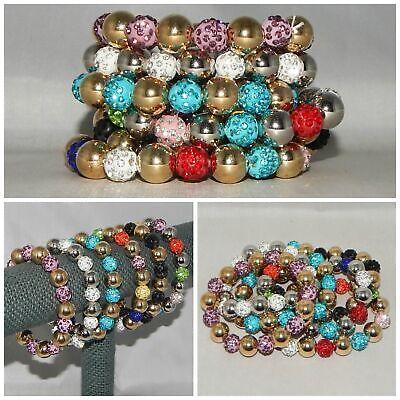 WHOLESALE LOT OF 6 BLING BEADS SILVER GOLDTONE BALLS STRETCH BRACELETS INDIANA Bling Ball Bracelets