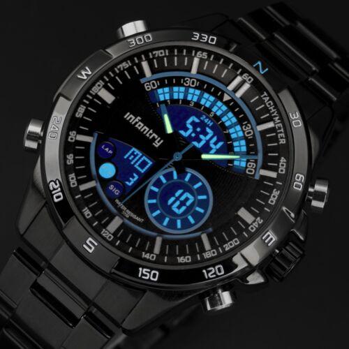 $22.01 - INFANTRY Mens Digital Quartz Wrist Watch Date Chrono Black Stainless Steel Sport