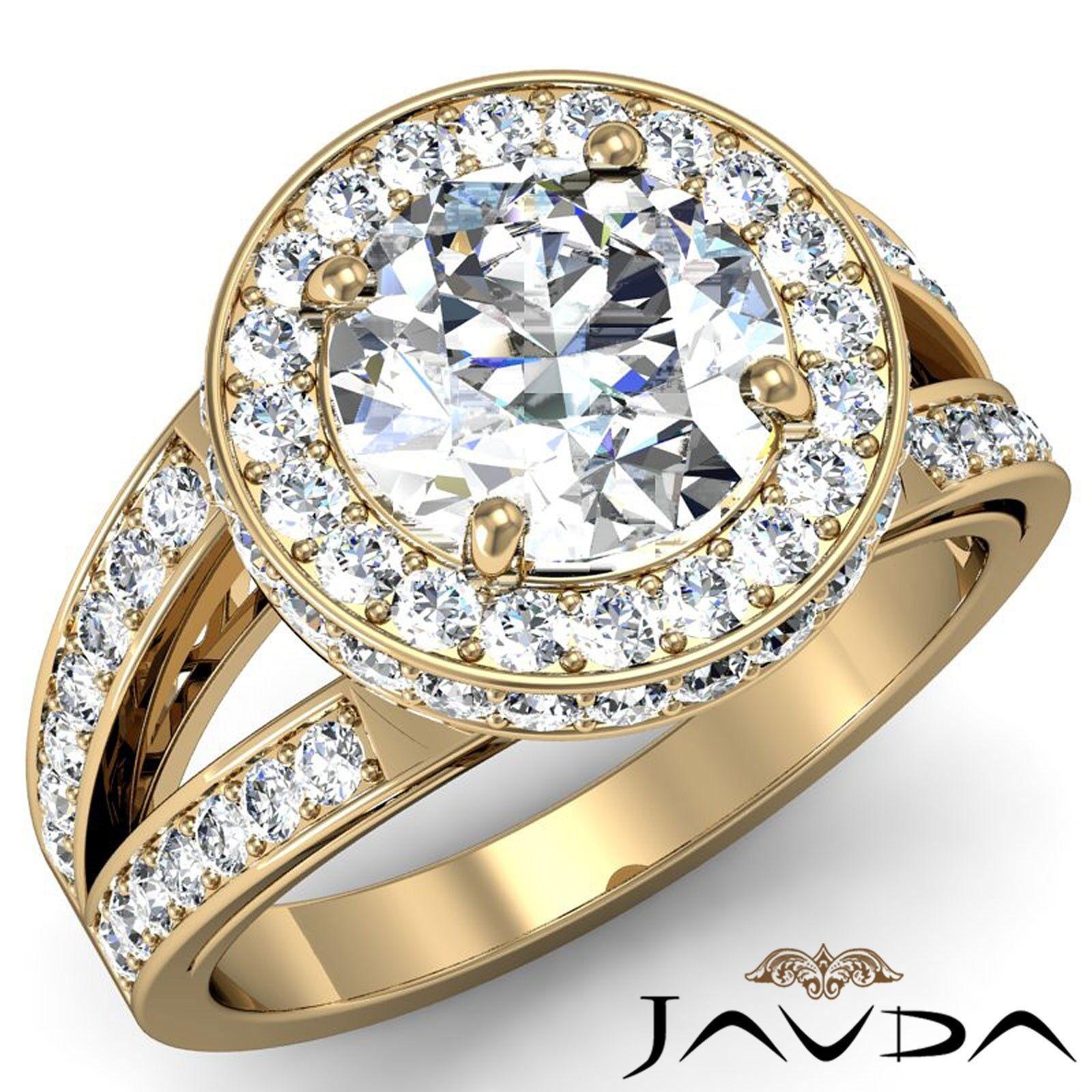 Circa Halo Split Shank Round Diamond Engagement Filigree Ring GIA G VS2 2.26 Ct