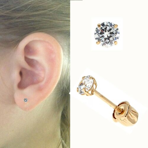 14K Solid Gold Round Baby CZ Screw Back Earrings Children Studs 2MM