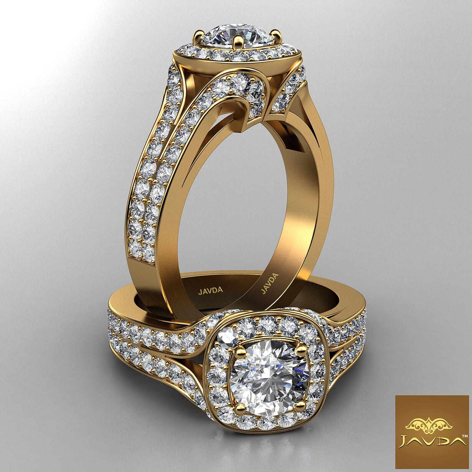 Bridge Accent Halo Round Cut Diamond Engagement Split Shank Ring GIA F VS2 1.9Ct