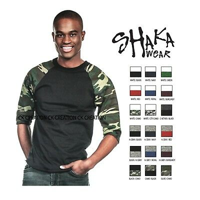 (Shaka Wear Casual Raglan Tee Baseball T-shirt 3/4 Sleeve Crew Neck Shirts )