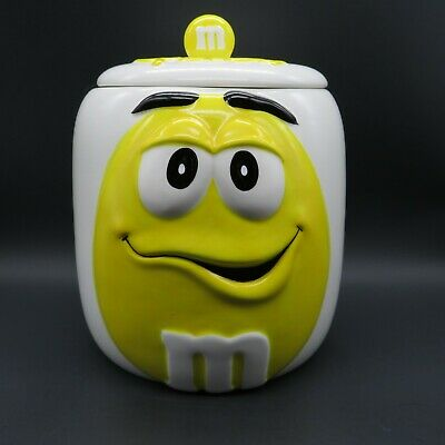 Ceramic YELLOW Peanut M&M Candy Cookie Jar Canister with Lid Collectors Series