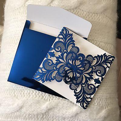 Royal Titanium Blue Glossy Wedding Invitation Cards Accessories