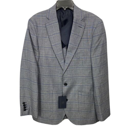 $295 Hart Schaffner Marx Blazer Sport Coat Jacket Large Grey Blue Check Clothing, Shoes & Accessories