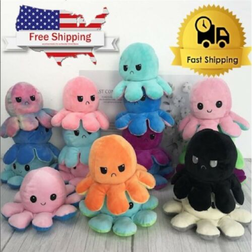 Cute Double-Sided Flip Reversible Octopus Plush Toys Funny Animals Doll Gift
