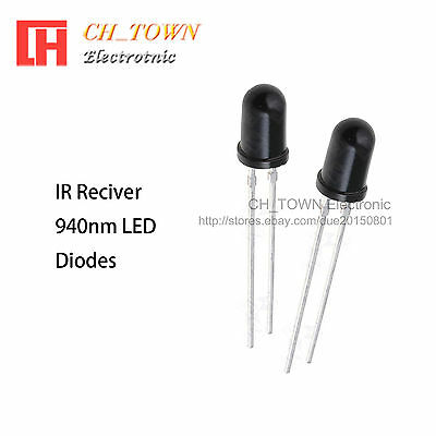 100pcs 5mm Ir Receiver Led Diodes Water Clear Infrared Receiving 940nm Lamp Usa