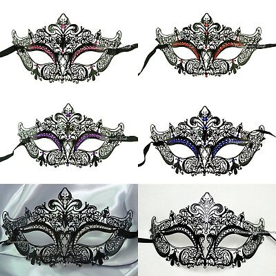 Elegant Black Laser Cut Venetian Masquerade Eye Mask Rhinestones Filigree Metal (Elegant Masquerade Masks)