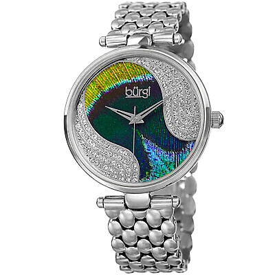 Women's Burgi BUR162SS Swarovski Crystal Pave Feather Pattern Dial Quartz Watch