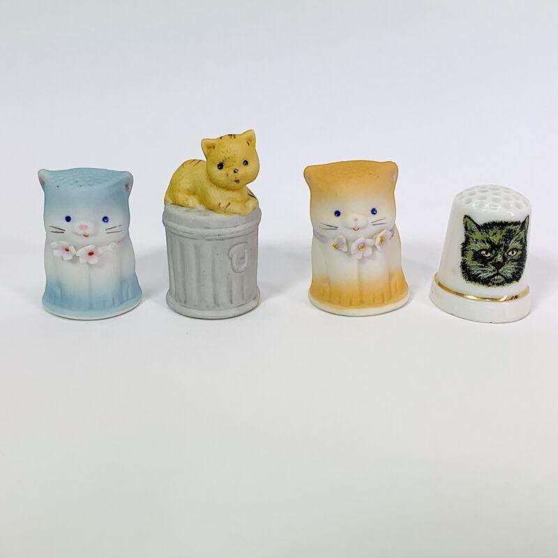 Vintage Cat Themed Thimble lot of 4 Decorative Collectibles Porcelain Ceramic