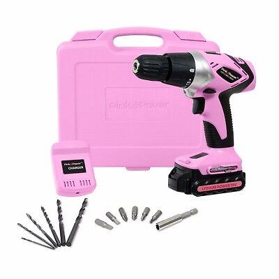 - Pink Power 18V 18 Volt Cordless Lithium Ion Drill Kit for Women - PP181LI Li-Ion