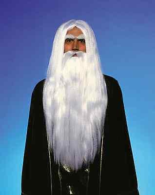 ADULT MERLIN WIZARD WHITE LONG WIG & BEARD SORCERER WARLOCK GANDALF COSTUME WIG ](Gandalf Wig)