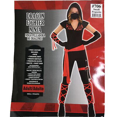 Dragon Fire Ninja Costume Woman S Black Red Suit Belt Sword Hooded Style 706