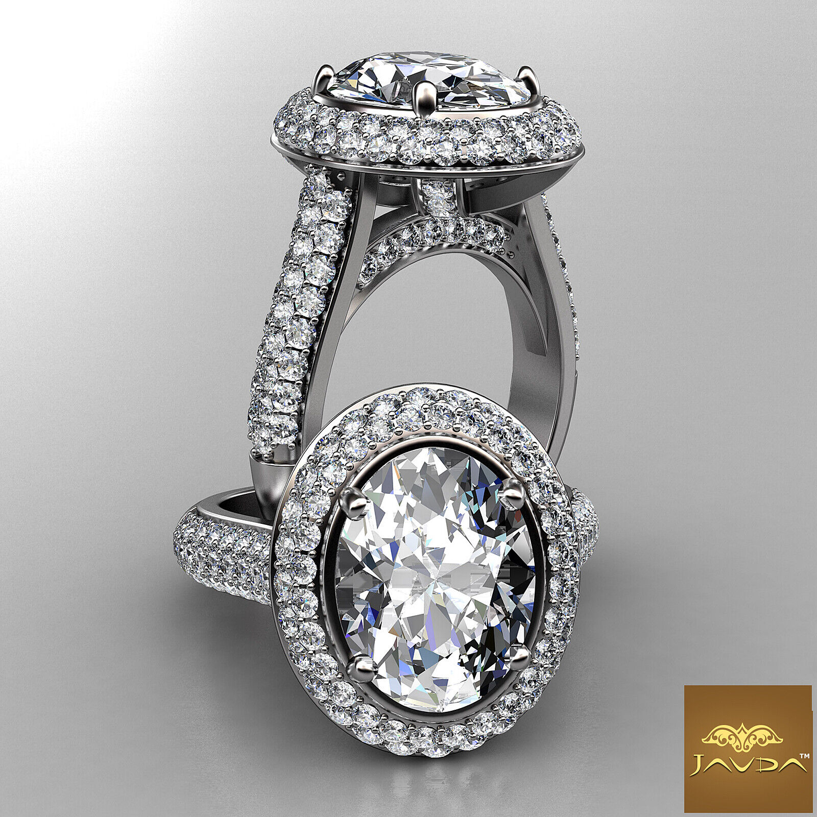 3 Row Shank Double Halo Oval Diamond Engagement Prong Setting Ring GIA F VS1 3Ct