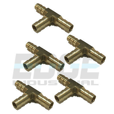 5 Pieces 516 Hose Barb Tee Brass Pipe 3 Way T Fitting Gas Fuel Water Air