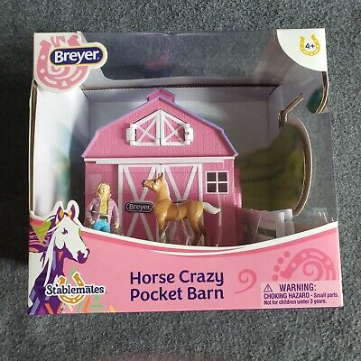 Breyer Stablemates Horse Crazy Pocket Barn. Pink/Purple. New in box.