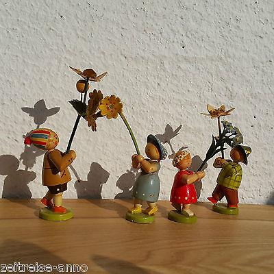4 Erzgebirge Blumenkinder alte WEHA Kunst Blumenmädchen altes Label Frühling