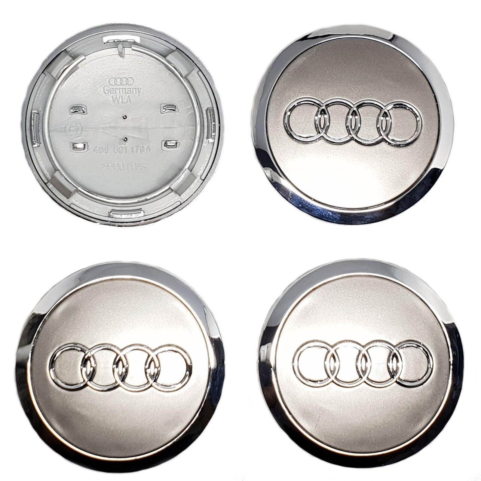 Audi Grey//Chrome Wheel Centre Caps 69 mm x4 for a3 a4 a5 TT q3 q5 q7 S LINE