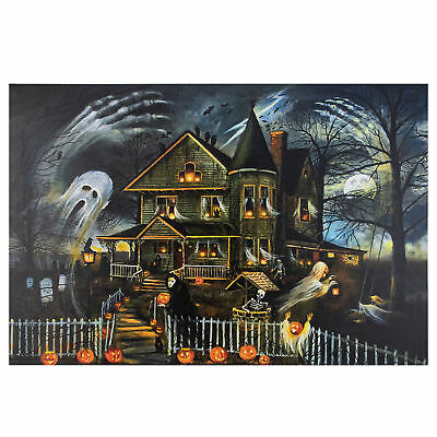 Led Canvas Wall Art Halloween (Northlight LED Creepy Haunted House Halloween Canvas Wall Art 23.5