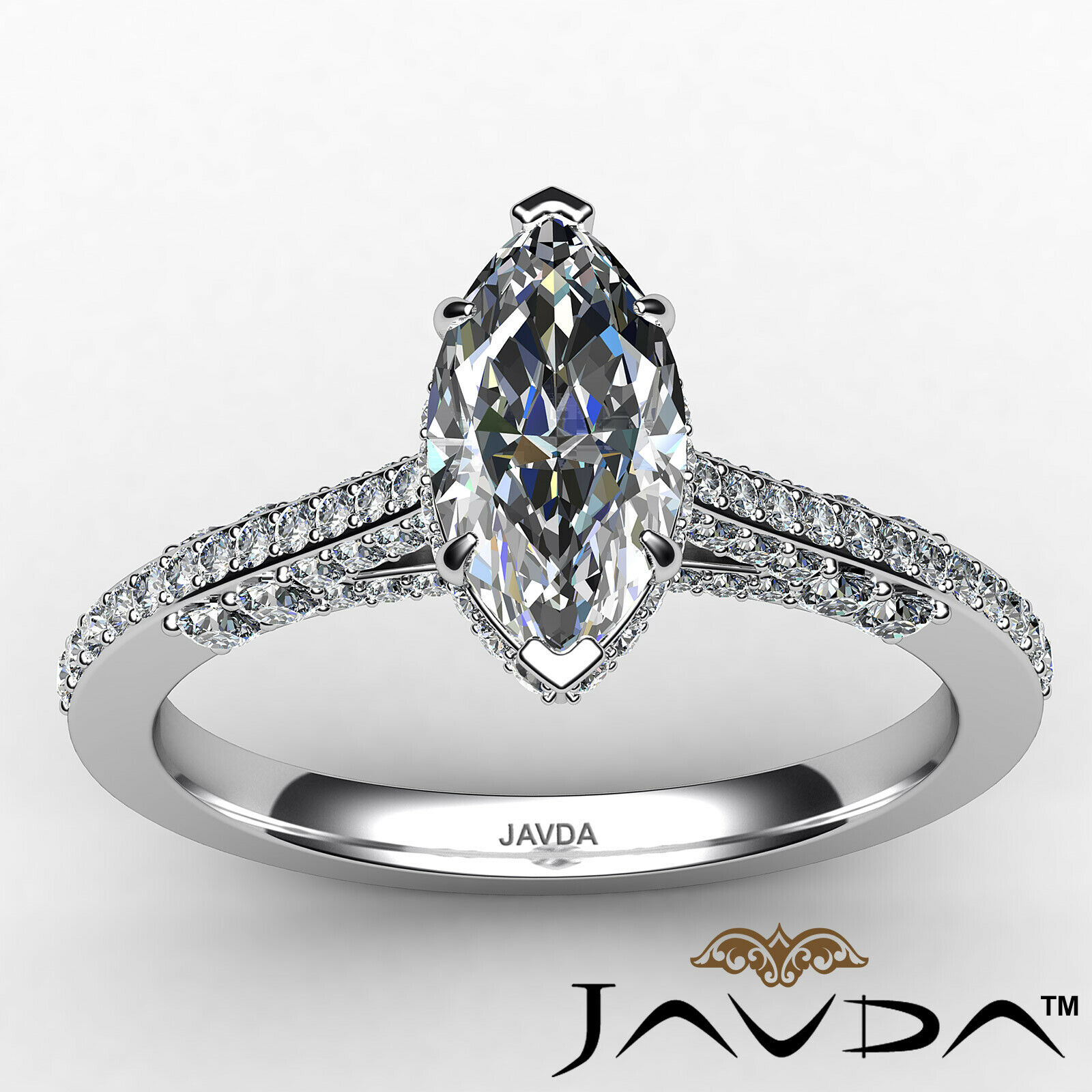 Circa Halo Marquise Diamond Engagement Ring GIA G Color & VVS2 clarity 1.1 ctw 9