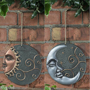 Garden wall plaque sun or moon decorative outdoor hanging for Outdoor hanging ornaments