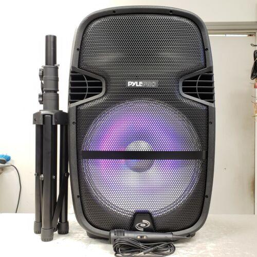 "15"" Pyle PPHP1548B Bluetooth LED Light Battery Power DJ Karaoke Speaker + Stand"