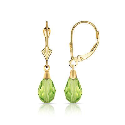 - Green Peridot 14K Solid Yellow Gold Tear Drop Shaped Dangle Earrings