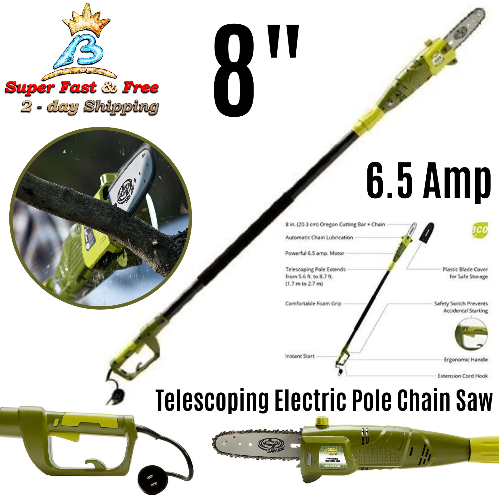 Electric Pole Chain Saw 8.7' Extension Telescoping Pole 6.5