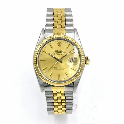VINTAGE ROLEX DATEJUST 16013 WRISTWATCH 18K YELLOW GOLD STAINLESS STEEL C1986