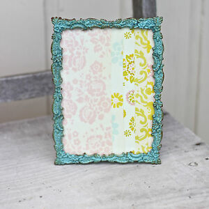 Vintage Soft Teal floral Shabby Metal Photo Picture Frame Home Decor
