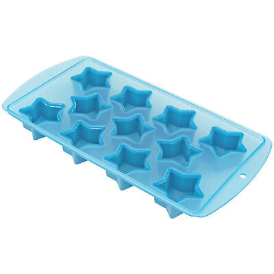 Star Shape Flexible 11 Ice Cube Tray Mold Blue Rubber Novelty Gag Gift July 4th Bar Tools & Accessories