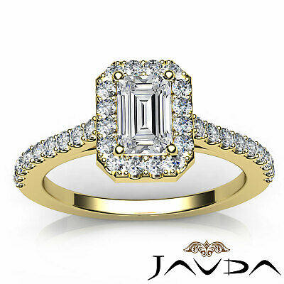 Halo Emerald Cut Diamond Engagement French U Pave Wedding Ring GIA F VS2 1.21Ct 10