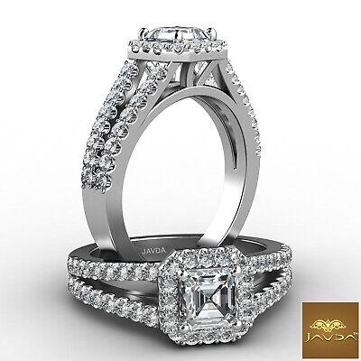 Halo Split Shank Asscher Cut Diamond Engagement White Gold Ring GIA E VS1 1.47Ct