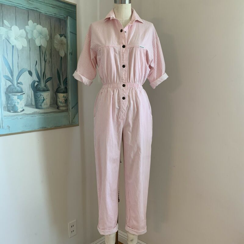 Vintage 80s 90s Dreams Pink/White Striped Jumpsuit