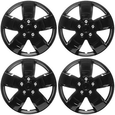 "4 Pc Set of 16"" ICE BLACK Hub Caps Rim Cover for OEM Steel Wheel - Covers Cap"