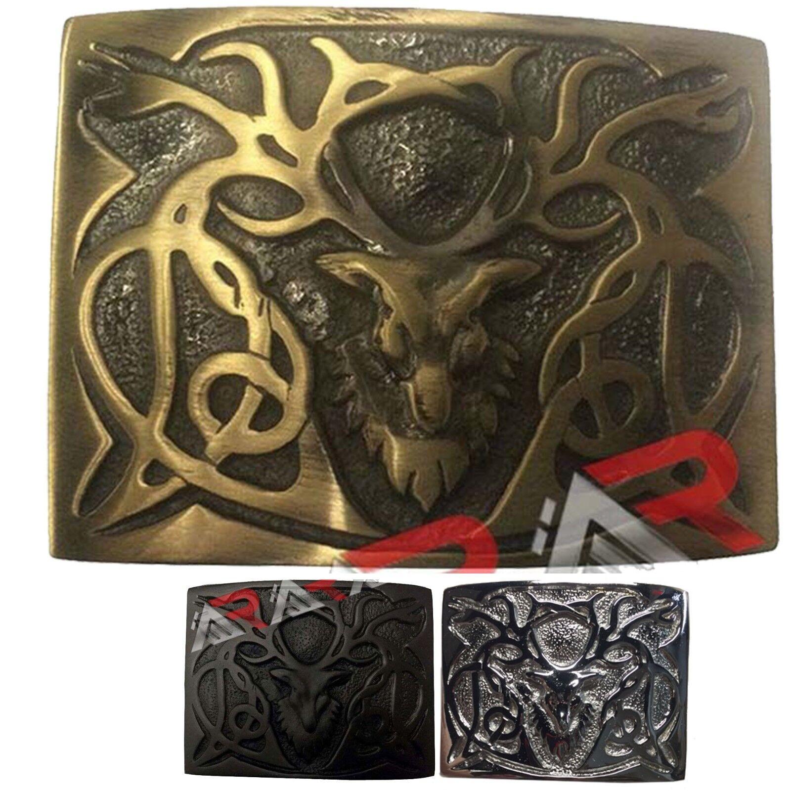 Scottish Kilt Belt Buckle Antique Chrome Black Highland Tree Belts Buckles AAR